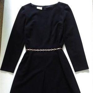Talbots Long Sleeve Black A-Line Dress